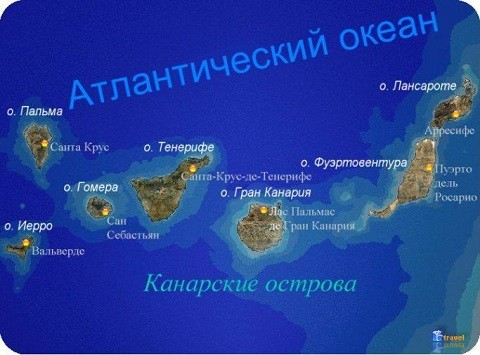 Отдых на канарских островах, карта островов