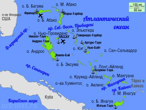 Отдых на Карибских островах, Багамские острова на карте
