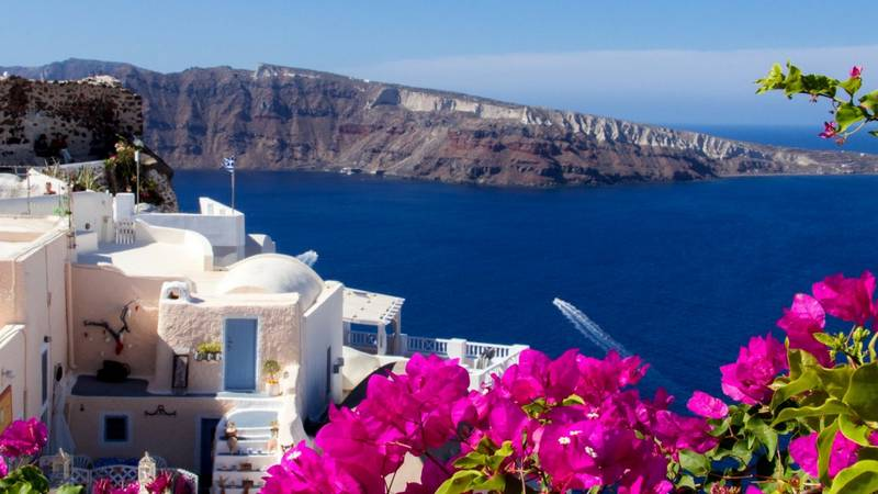 Отдых на острове Санторини - вид с окна отеля