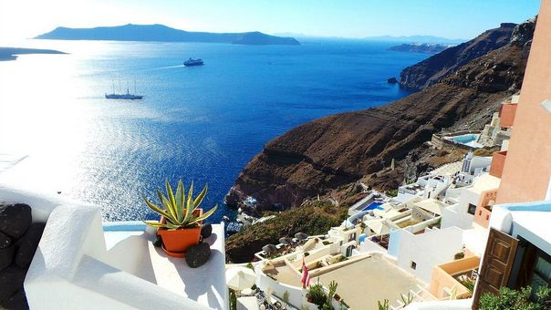 Отлых на острове Санторини - вид из отеля