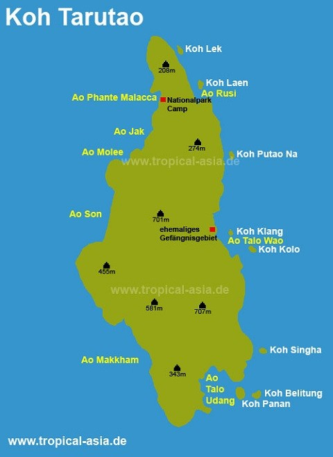 Отдых на островах Тайланда, Тарутао - карта острова