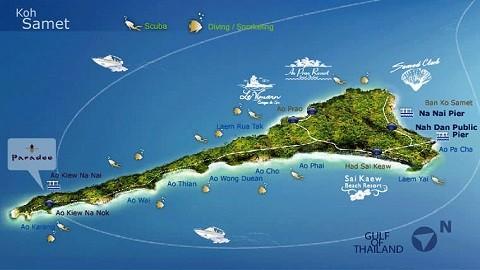 Отдых на островах Тайланда, остров Самет, карта