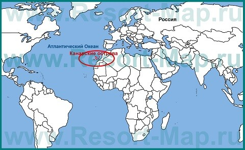 Отдых на островах Испании, расположение Канарского архипелага на карте мира