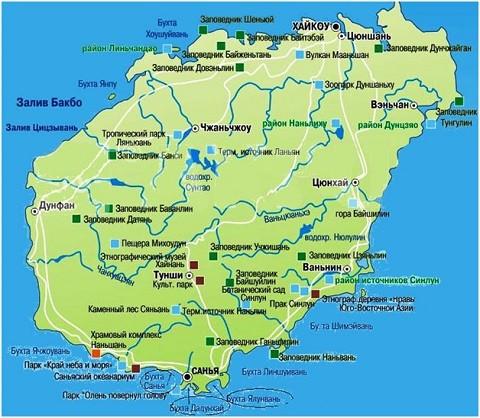 Отдых на острове Хайнань, карта Острова